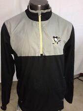 Pittsburgh Penguins Reebok Mens Black Silver Center Ice Quarter Zip Jacket (L)