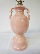 Vintage 40's Pretty PINK Ceramic Classic Tall Ceramic URN w HANDLES Table Lamp