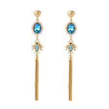 Boucles d`Oreilles Clous Doré Long Pompon Mini Perle Bleu Abeille Insect XX17