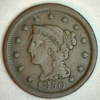1850 Braided Hair Large Cent Copper US Type Coin Fine 1c Genuine OLD Penny M7