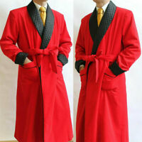 Men Red Smoking Gown Jacket Black Shawl Lapel Wedding Party Wear With Belt