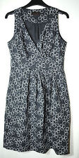 GREY WHITE LADIES CASUAL PARTY COCKTAIL DRESS SKATER SIZE S GREAT PLAINS LINED