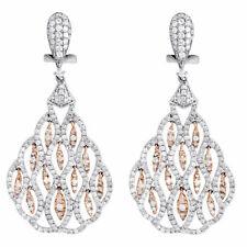 Diamante Pendente Orecchini Donna 14K Bianco Bicolore Oro Rotondo Pavè 1.75 TCW