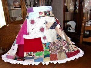 Apron half pioneer style handmade patchwork and eyelet lace