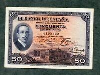 BILLETE 50 PESETAS MADRID 1927 SIN  SERIE 4195462    EBC