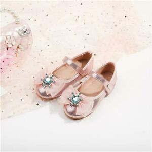 Baby Girls Kids Princess Low Heel Shoes Party Holiday Wedding Sparkly Sandals