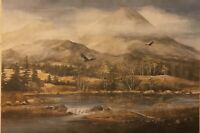 Vintage Mountain Scene With Eagles Painting Print Poster 24 X 15 Heavy Paper