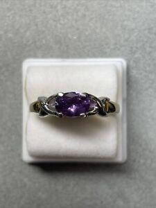 0.82 carat purple unheated sapphire platinum 18k yellow gold ring