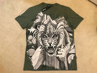 Just Cavalli Tiger Tshirt Tattoo Size M Olive Authentic NWT Kenzo tiger t shirt