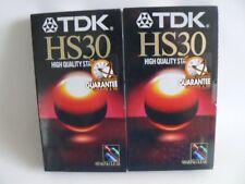 TDK HS30 de alto nivel de calidad Cintas Vhs X 2 30-45 minutos Nuevo Sellado