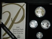 2002 W American Eagle Platinum 4 coin Proof Set RARE MINTAGE
