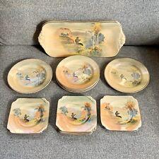 Royal Doulton Pipes Of Pan 14 Piece Tea Sandwich Plate Set Art Deco 20s