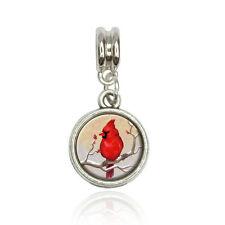 Cardinal in Winter Euro European Italian Style Bracelet Bead Charm