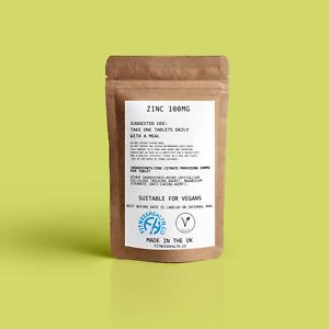 Zinc Citrate100mg Tablets High Strength Super Immune Health Vegan 30/60/90/120