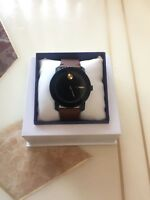New Movado Bold Series Mens Brown Leather Strap Swiss Watch 3600305