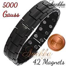 Cu+Bio 5000 GAUSS X 42 POWERFUL MAGNETIC PURE TITANIUM  BRACELET BLACK MEN T03BM
