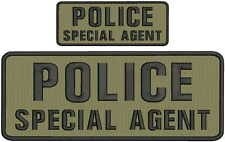 POLICE SPECIAL AGENT embroidery patches 4x10 and 2x5  hook coyote tan