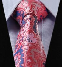 SALE Mens Tie in Salmon Pink Necktie Blue  Woven Paisley Silk Floral Gift 618