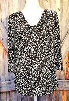 KRISTIN NICOLE Womans BLACK & WHITE Shirt TUNIC Top Lightweight Stretch size XL