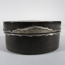 Antique French Silver & Inlaid Faux Tortoiseshell Snuff Box w/ Landscape, 18th C