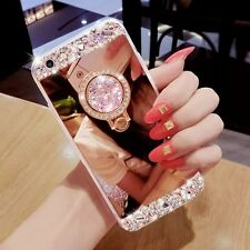 Bling Diamond Ring Holder Stand Mirror Phone Case Cover For iPhone 7 & Samsung