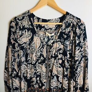 Rip Curl Playsuit Paisley Multicoloured long sleeve Drawstring Waist Size 12