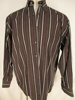 Canali Mens Brown Stripe Long Sleeve Cotton Dress Shirt 43 17-34/35 Italy Made