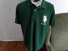 Mens US POLO ASSN- USPA- Dark Green Polo Shirt LARGE
