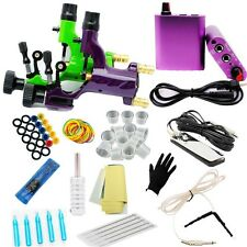 Complete Dragonfly Tattoo Machine Kit Power Supply Foot Pedal Clip Cord Needles