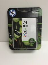 (New) HP 74 Black & 75 Tri-Color Original Ink Cartridges - 2 Pack (CC659FN)