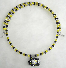 Yellow Bow White Black Hello Kitty Face Choker Necklace Memory Wire Polkadot Cat