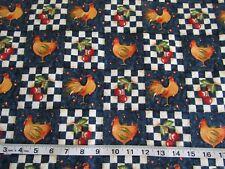 Vintage Daisy Kingdom Fabric #454 Checkerboard Chickens Beth Yarbrough BTY
