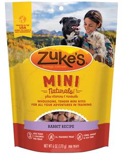 Zuke's Mini Natural Healthy Moist Wild Rabbit Recipe Dog Training Treats 6 oz