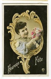 c 1907 VIntage French Art Nouveau HAND MIRROR BEAUTY Fantasy photo pcard