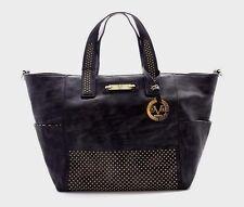 VERSACE Italia 19V69 Eliza Tote Dark Gray Gold Tone Studs Shoulder Handbag NEW