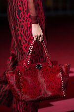 Valentino Red (Rouge) Leopard Print Calf Hair Rockstud Tote $4145.00 *Sold Out*