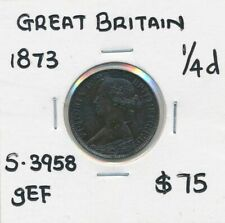 Great Britain 1873 Queen Victoria 1/4d Farthing S-3958 Tiny Spots gEF