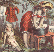 BUCHAN'S CARBOLIC  SOAP TRADE CARD, GIRL WASHING LG DOLL, CLOTHES & BOY   Z171