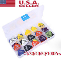 24-100x Electric Guitar Bass-Pic Acoustic Music Pick Plectrum Assorted Thickness