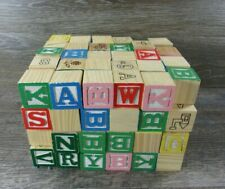 Huge Lot Of 106 Vintage Wooden Toy Blocks Letters Numbers Pics & case