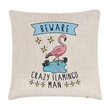 Beware PAZZO FENICOTTERO man lino copricuscino cuscino - divertente animale Rosa
