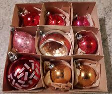9 Antiche Palline In Vetro Per Albero Di Natale Addobbi Vintage con scatola orig
