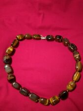 Tigers Eye Necklace 22 large Stones Silver 925 Clasp