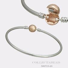 Authentic Pandora Silver w/ PANDORA Rose Clasp Bangle Bracelet 8.3 580713-21