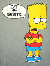 Bart Simpson Eat My Shorts Gray T-Shirt New 2017 NOS LG L/S