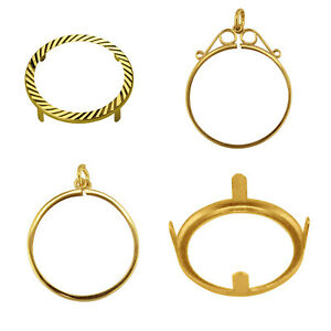 9ct Solid Gold Half Sovereign Full Sovereign 1/10 Krug Ring Mount Pendant Bezels