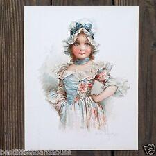 Original FRANCIS BRUNDAGE Victorian Stone Art LITHOGRAPH PRINT c1900 Blue Dress