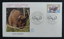 France FDC 1974 Bison bisonte europeo FIRST DAY COVER c991