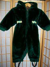 Adorable Vtg 60s Cozy Forest Green Faux Fur Snow Suit Infant Toddler Boys Girls