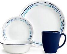 Corelle Livingware Ocean Blues 32-Piece White Dinnerware for 8 NEW FREE SHIP